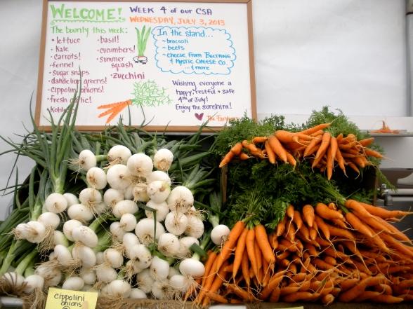 The harvest awaits under the CSA tent (A.Gross)